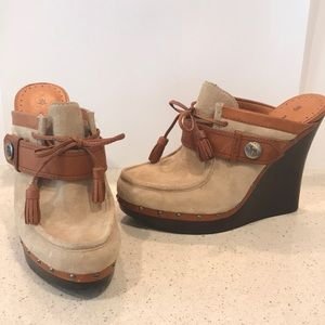 L.A.M.B Tan Suede Leather Platforms Wooden Clogs